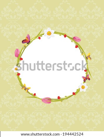 Wreath with butterflies and spring flowers on the ornamental background. Vector - stock vector