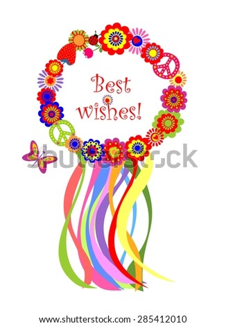 Wreath with colorful strips and flowers - stock vector
