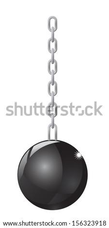 Wrecking Ball on white background - stock vector