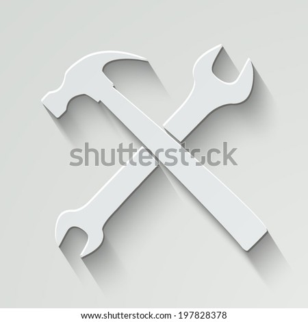 wrench and hammer vector icon - paper illustration with shadow on light background