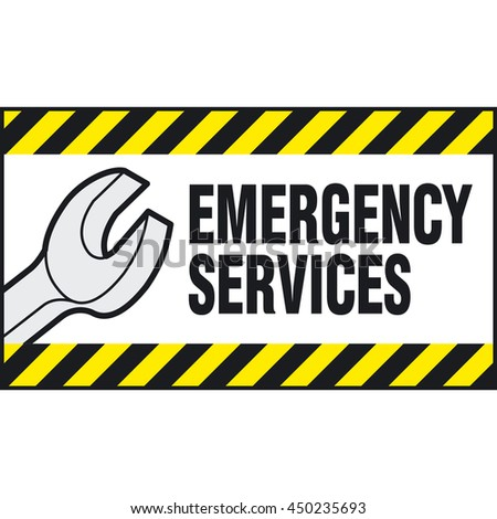 Wrench and inscription - EMERGENCY SERVICES. Vector logo and sign.