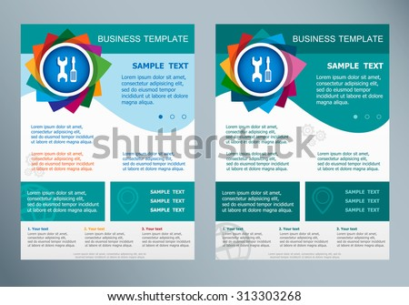 Wrench and screwdriver icon on abstract vector modern flyer. Brochure design template.  - stock vector