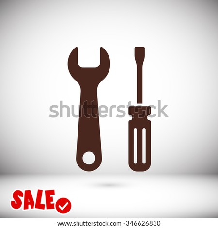 Wrench and screwdriver icon. One of set web icons
