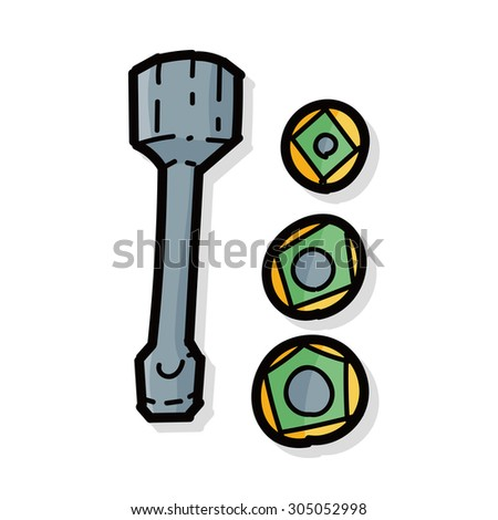wrench, bolts color doodle - stock vector