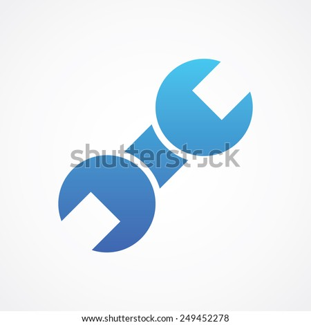 Wrench line icon. Simple flat style vector illustration - stock vector