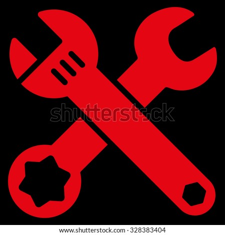 Wrench vector icon. Style is flat symbol, red color, rounded angles, black background.