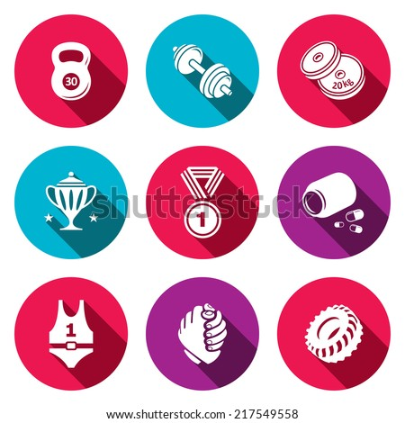 Wrestling flat icon collection - stock vector