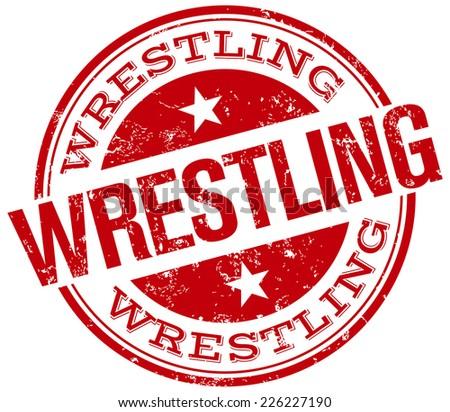 wrestling stamp - stock vector