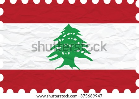 wrinkled paper lebanon stamp, abstract vector art illustration, image contains transparency