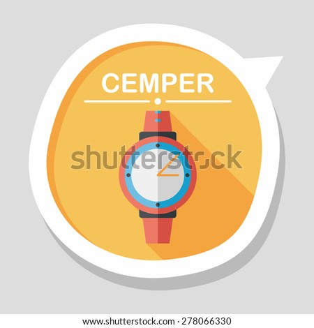 Wristwatch flat icon with long shadow - stock vector