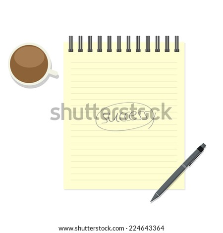 Write success on paper note with pen and coffee cup - stock vector