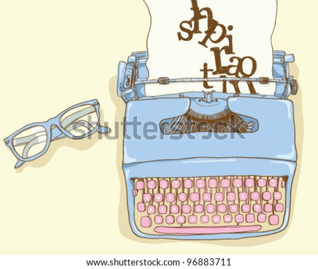 Writer desk - stock vector