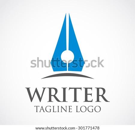 writer pen literature abstract vector logo design template