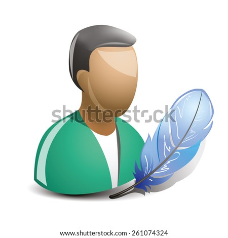 Writer with feather icon - stock vector