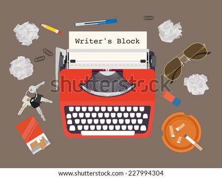 Writers block - vector typewriter set - stock vector