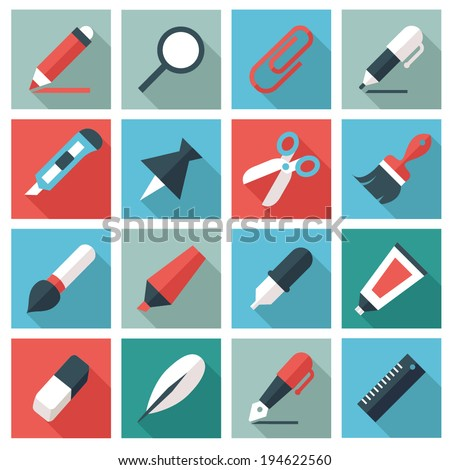 writing and drawing tools - stock vector