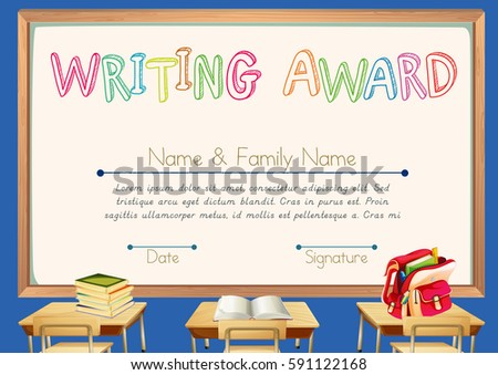 calligraphy certificate templates - certificate template science subject illustration stock