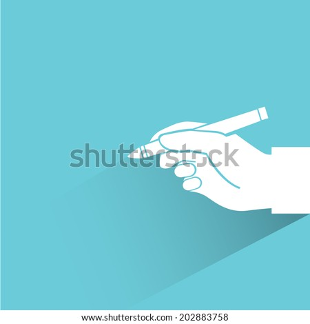 writing, blue shadow and flat theme - stock vector