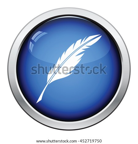 Writing feather icon. Glossy button design. Vector illustration. - stock vector