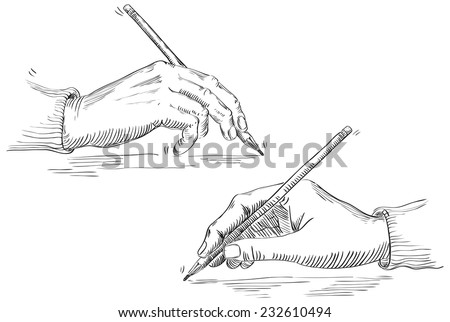 Writing hand of artist . Vector of Hand Holding Pencil at retro engraving style.  - stock vector