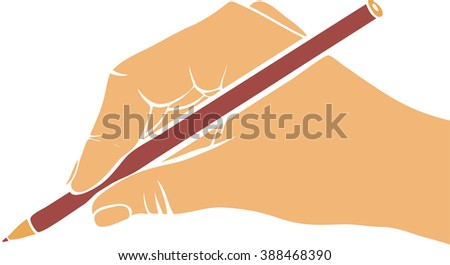 writing hand with pencil, drawing right hand, hand drawn vector icon - stock vector