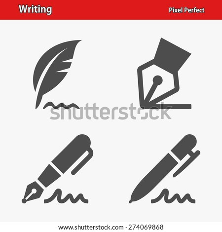 Writing Icons. Professional, pixel perfect icons optimized for both large and small resolutions. EPS 8 format. - stock vector