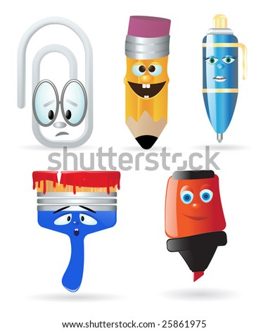 Writing instruments and office supply. Cartoon character - stock vector
