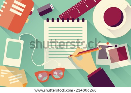 Writing into notebook background with coffee, photos, glasses and flash drive, vector - stock vector