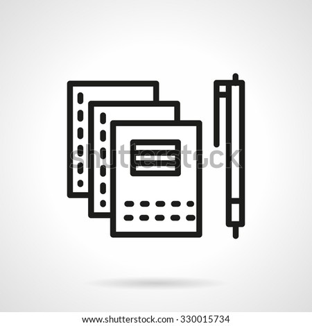 Writing objects, three copybooks or notebooks and pen. School supplies and items. Black simple line vector icon. Web design elements for business and site.  - stock vector