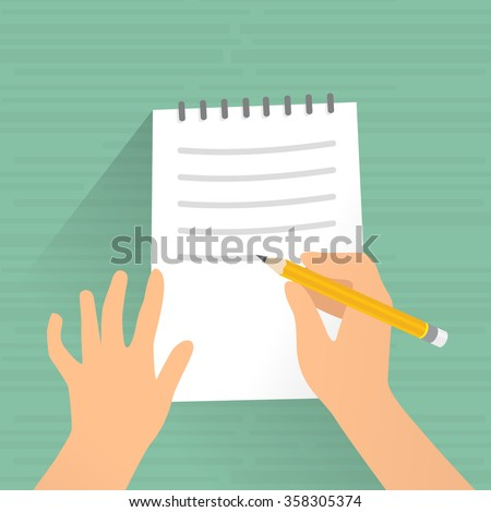Writing on paper. Hand signing writing on paper, vector illustration. - stock vector