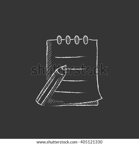 Writing pad and pen. Drawn in chalk icon. - stock vector