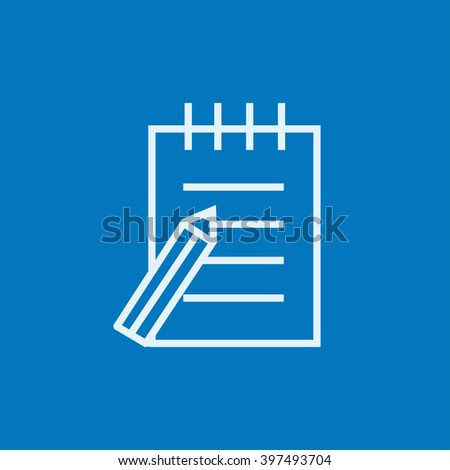 Writing pad and pen line icon. - stock vector