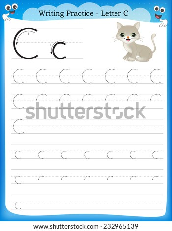 Writing Practice Letter C Printable Worksheet Stock Vector Hd