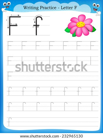 Writing practice letter F  printable worksheet for preschool / kindergarten kids to improve basic writing skills  - stock vector
