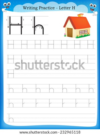 Writing practice letter H  printable worksheet for preschool / kindergarten kids to improve basic writing skills  - stock vector