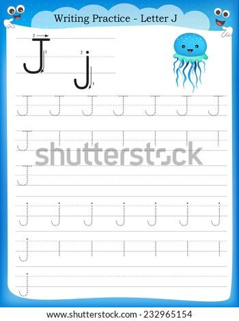 Writing practice letter J  printable worksheet for preschool / kindergarten kids to improve basic writing skills  - stock vector
