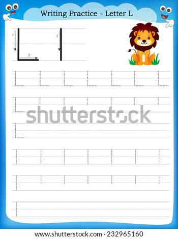 Writing practice letter L printable worksheet with clip art for preschool / kindergarten kids to improve basic writing skills  - stock vector