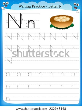 Writing practice letter N  printable worksheet with clip art for preschool / kindergarten kids to improve basic writing skills  - stock vector