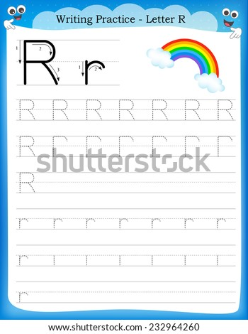 Writing practice letter R  printable worksheet with clip art for preschool / kindergarten kids to improve basic writing skills  - stock vector