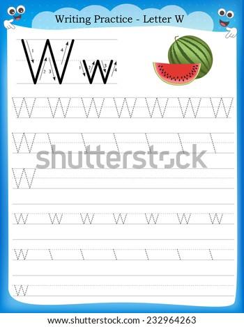 Writing Practice Letter W Printable Worksheet With Clip Art For Preschool / Kindergarten  Kids To Improve