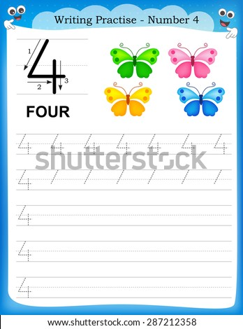 Writing practice number four printable worksheet for preschool / kindergarten kids to improve basic writing skills - stock vector