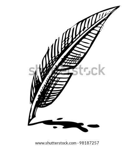 Writing quill with ink blot. Sketch vector illustration - stock vector