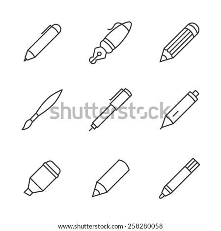 Writing tools. Pencil, pen, fountain pen, brush, marker, crayon, ballpoint thin line vector icons. - stock vector