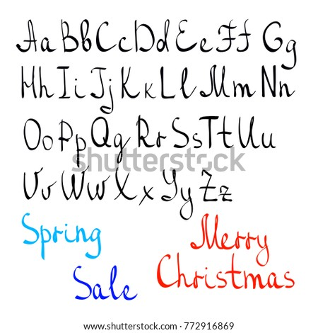 Written alphabet by hand english letters stock vector 772916869 written alphabet by hand english letters casually written letters words spring sale spiritdancerdesigns Images