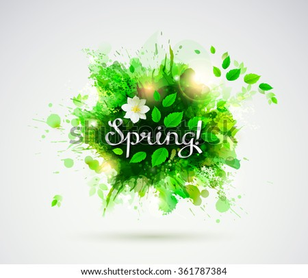 written word Spring. Season banner with fresh green leaves  - stock vector