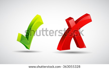 Wrong and right check mark flat icons with long shadow, Yes or not icons - stock vector