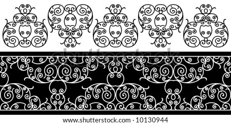 wrought iron elements - repeating left to right (vector) - stock vector