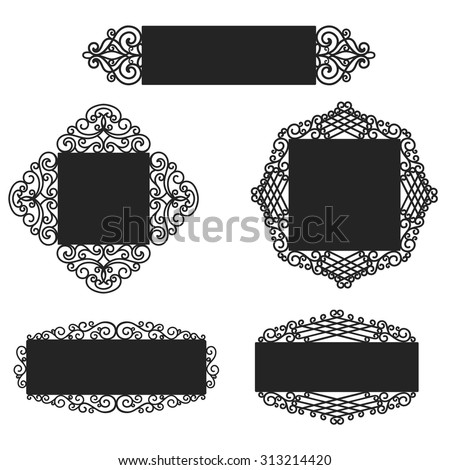Wrought Iron frames - stock vector