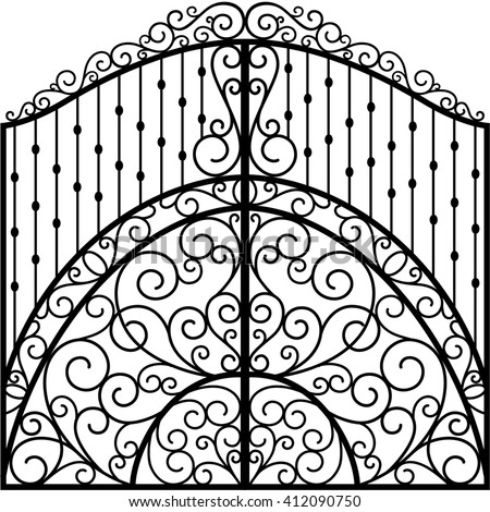 Wrought Iron Gate - stock vector