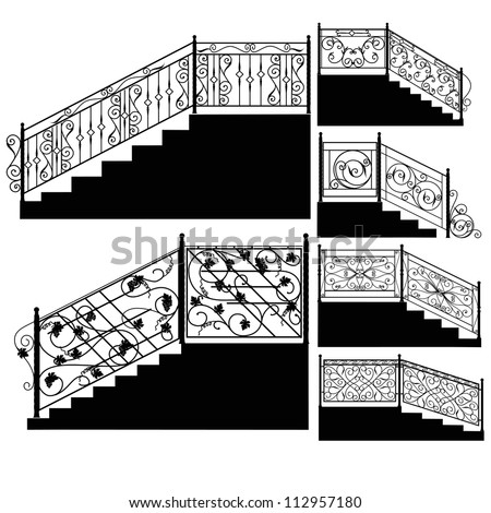Wrought iron stairs railing. - stock vector